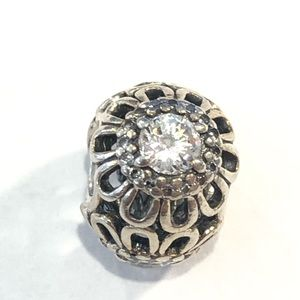 Pandora Sterling with Three Round Stone Charm Bead
